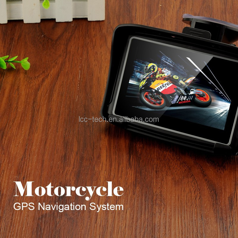 Waterproof Car Motorcycle GPS Navigator Navigation 4.3 inch 800lm Brightness Touch Screen NAV Bluetooth Connect Internal GPS 8GB