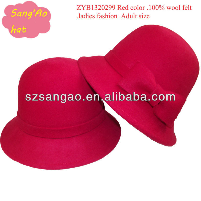 Wholesale Red super wool fedora dress hat