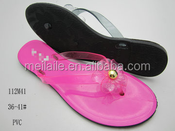New stylish rose color ladies slippers with flower