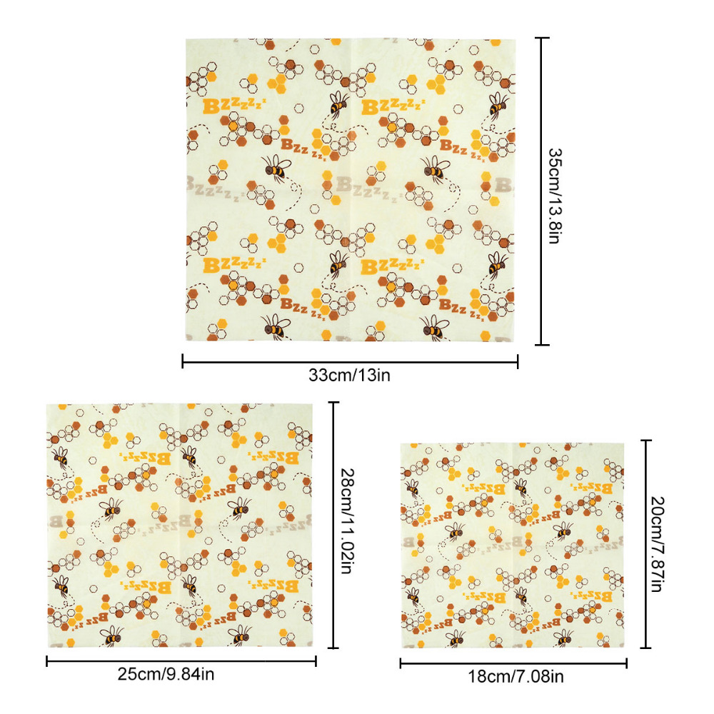 1 Set of 3 Reusable Beeswax Food Wraps Washable Food Fresh Keeping Wrap