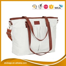 Canvas Baby diaper bag & Mummy Diaper Bag & Printed Stripes Baby Changing Pad