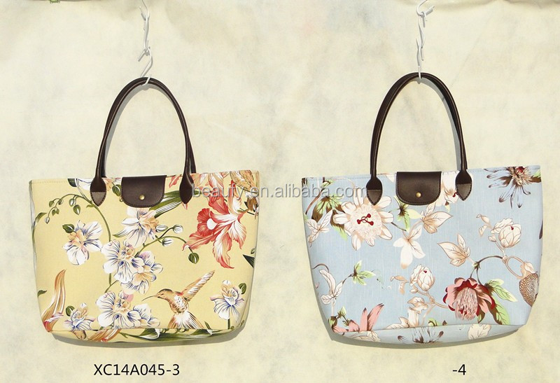 Trade Assurance Flower Pattern Bags with Leather Handle