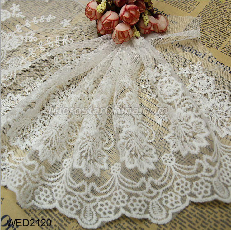 FengRise 23cm embroidered tulle wide Lace trim for decoration