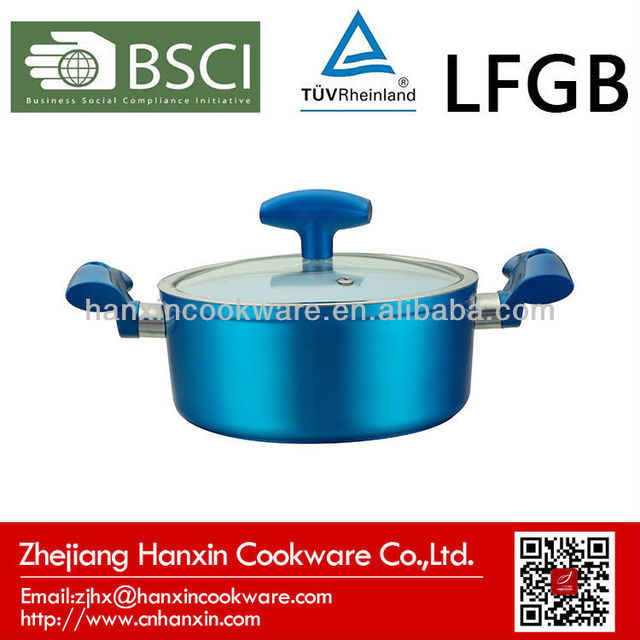 white ceramic coating casserole with new silicone handle