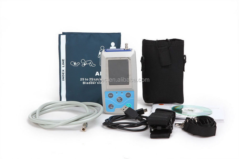 CE FDA ABPM50 Color LCD Ambulatory Blood Pressure Monitor USB Software, 24h NIBP Holter Monitor