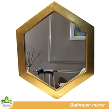 Norhs luxury hexagon hotel vanity unique wall gold framed mirror for bathroom