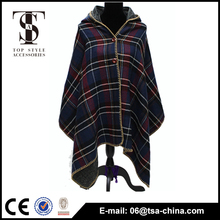 Sweden Checked winter lady Hooded cape for women