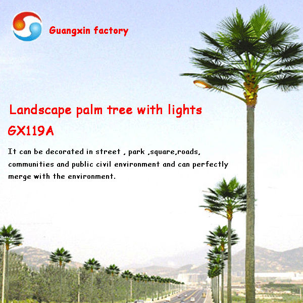Landscape palm tree with LED light streetlight tree light up tree China manufacturer