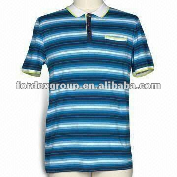 Men's Yarn Dyed Fluro Tipped Polo Shirt with Flat Knitted Collar, Contrast Inner Placket