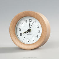 wholesale table stand small beech wood alarm clock