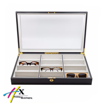 12 Piece Black Wood Eyeglass Display Case Oversized Sunglasses Glasses Watch Organizer Collector Box