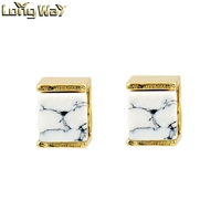 Fashion White Howlite Stone Earring Square Shape Gold Plate Stud Earring