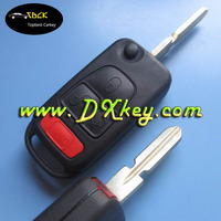 No logo!! 3+1 buttons car flip key shell 4 track for mercedes benz cars mercedes key fobs