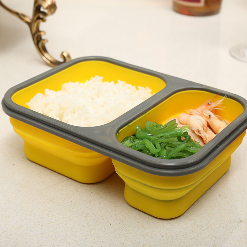 New Yellow lunch box eco friendly lunchbox flexible lunchbox silicon lunchbox containers