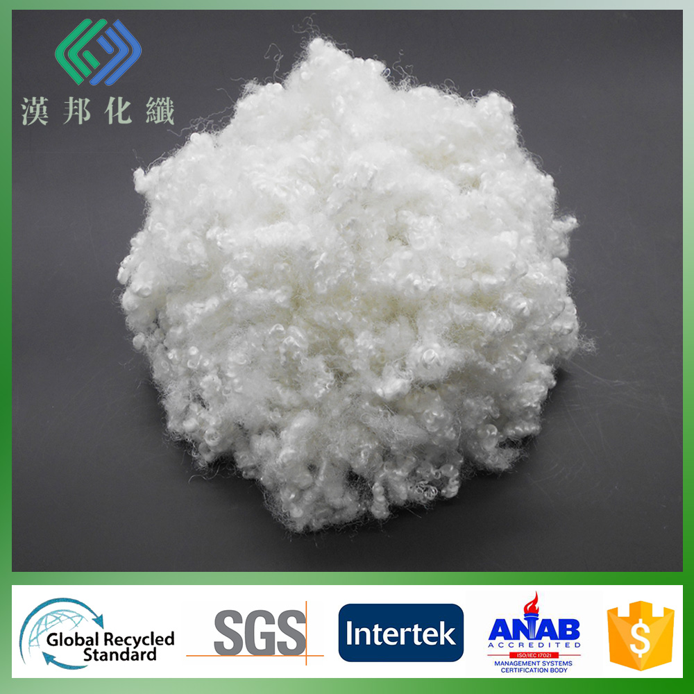 15D/64mm recycled antibacterial HCS polyester staple pet fiber raw material for mattress