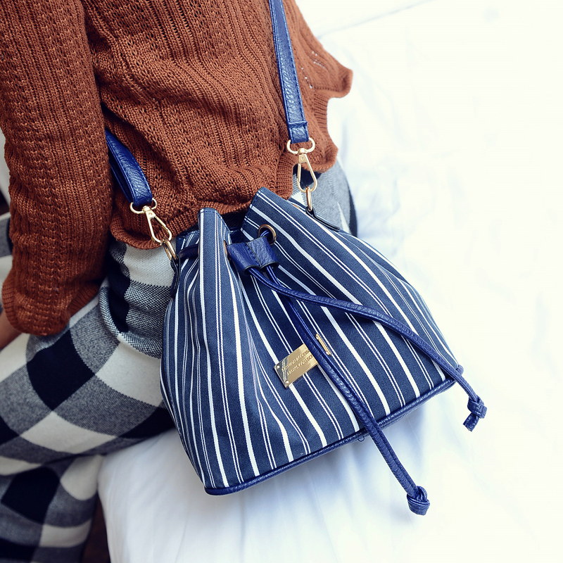 Branded women ladies small mobile phone shoulder sling stripe bag for ladies