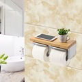 bathroom bamboo toilet paper holder with shelf