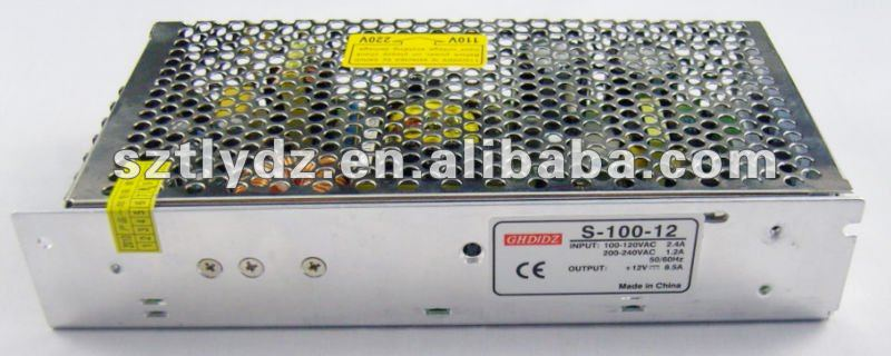 S-100-12 100W 12V 8.5A LED Single Output Switching Power Supply With CE Approved