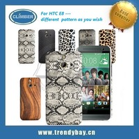 Diaphanous wood bamboo cell phone case for htc E8