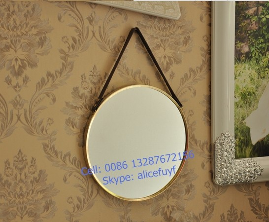 cheap decorative round metal framed wall hanging mirror with chain or leather strap