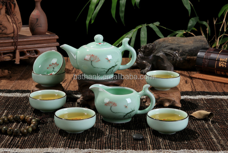 High quality porcelain Kongfu tea sets 8 in 1 hand painted with lotus