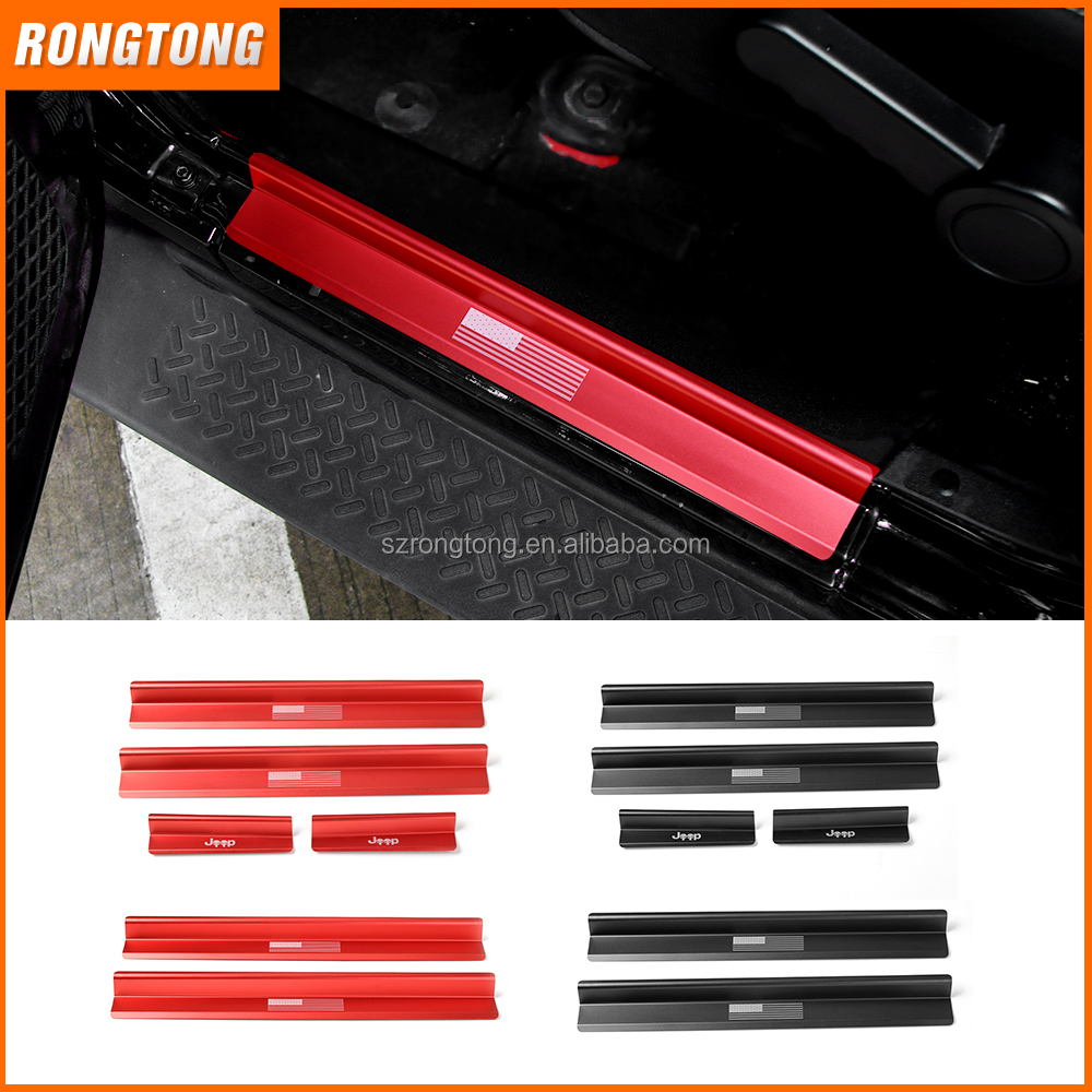 Door Sill Entry Guards Plates 2/4 doors USA Flag Logo skull Logo for Jeep Wrangler JK 07-16