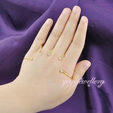 Newest design gold plated crystal wholesale palm bracelet