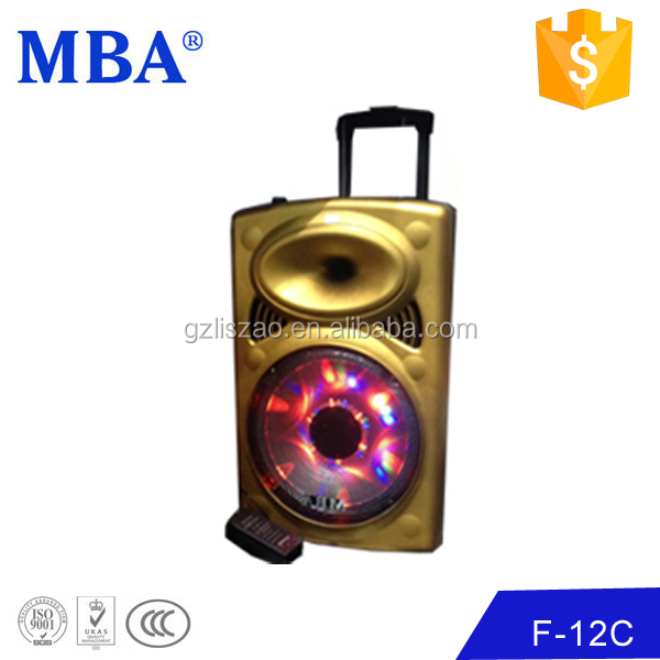 China import woofer with flash light rechargeable portable 12 inch plastic speaker