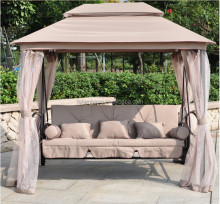 Luxury Two Function Three Seat Outdoor Gazebo Swing Chair Bed with mosquito net
