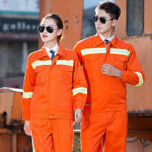 Factory wholesale <strong>orange</strong> wear-resistant long-sleeved reflective strip overalls Workwear Suit