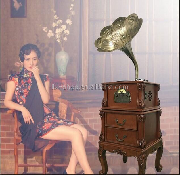 Hot High Quality Classic Wooden Radio Gramophone Luxury Retro Vinyl Phonograph Record Player Wooden Radio Gramophone