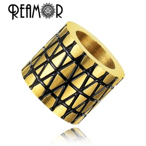 REAMOR Free Shipping Metal Beads Mirror Polished Plated Bead Gold Stainless Steel Beads