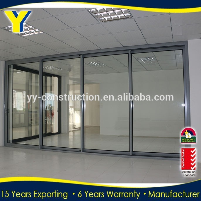 Large aluminum stacking sliding glass doors Double Glazed Aluminium Windows and Doors Comply with AS2047 AS2208 AS1288