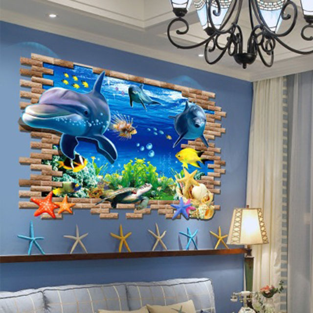 3D Wall stickers Creative home Cartoon decorative painting Living room stickers