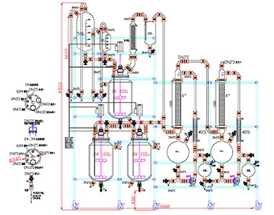 100L glass reactor with tail gas treatment design