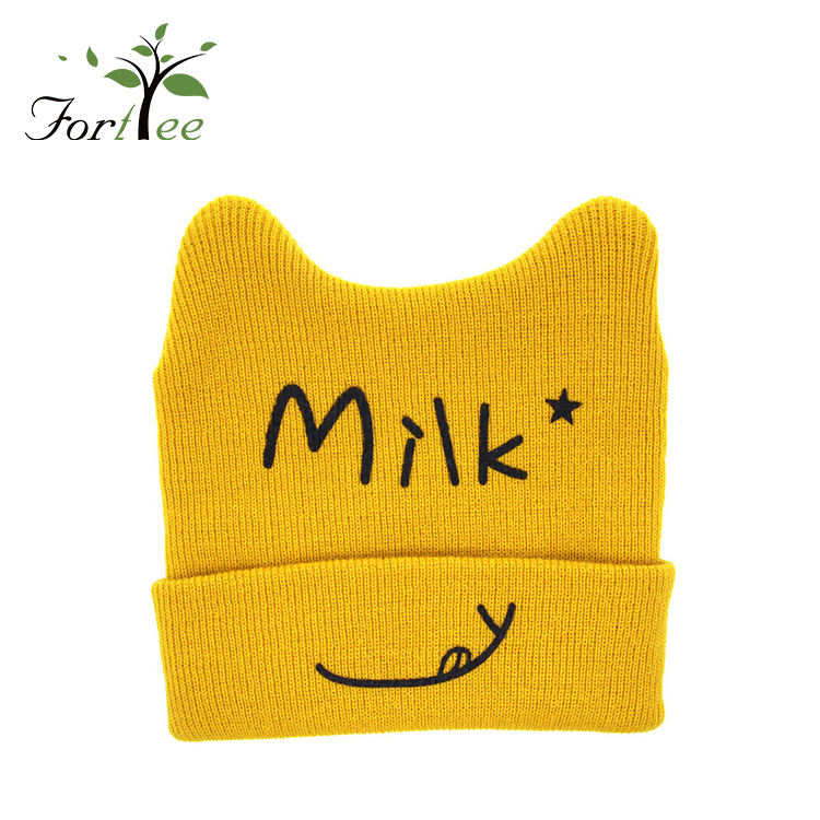 High quality cheap price custom fashion soft comfortable baby kids cute funny winter cat shape knitted hat