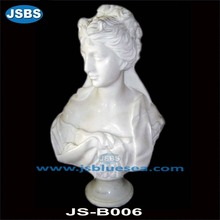 Stone Carved White Marble Beautiful Lady Bust
