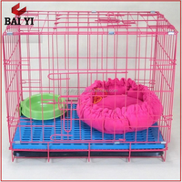 Folding Metal Pink House Dog Cage Pet Crate