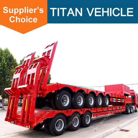 Titan 3 quad axles gooseneck 60 tons semi low loader for sale in uk