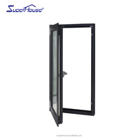 America double glass aluminium thermal break casement window with fixed glass