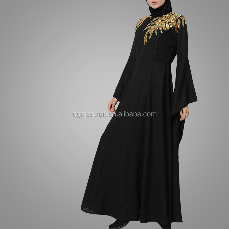 2018 Beautiful Design Statement Embroidered Shoulder Evening Dress Long Cape Sleeves Abaya Kimono Muslim Clothes