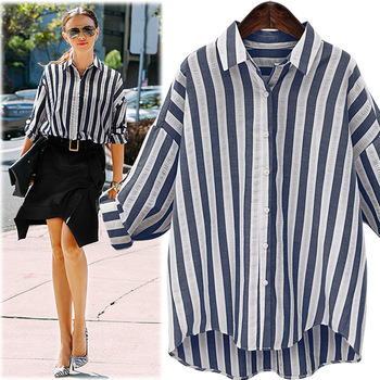 MS75152L Wholesale women casual soft stripe blouse