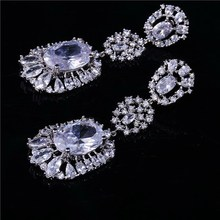 Trendy professional silver plated fine AAA zirconia drop earrings