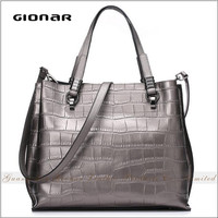 Hot Sell Chic New Design Soft Touching Croc. Embossed Real Leather Large Tote Bag with Shoulder Strap