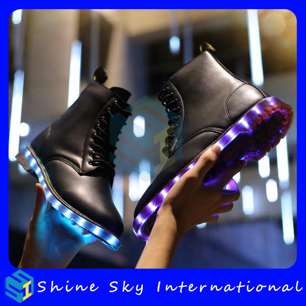 2017 new year products adults led shoes PU leather colorful wrestling shoes rave party