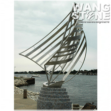 Abstract Art Metal Outdoor Stainless Steel Sailing Boat Sculpture
