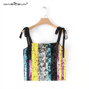 ladies fashion sequin beaded sexy blouses colorful crop top for evening wear