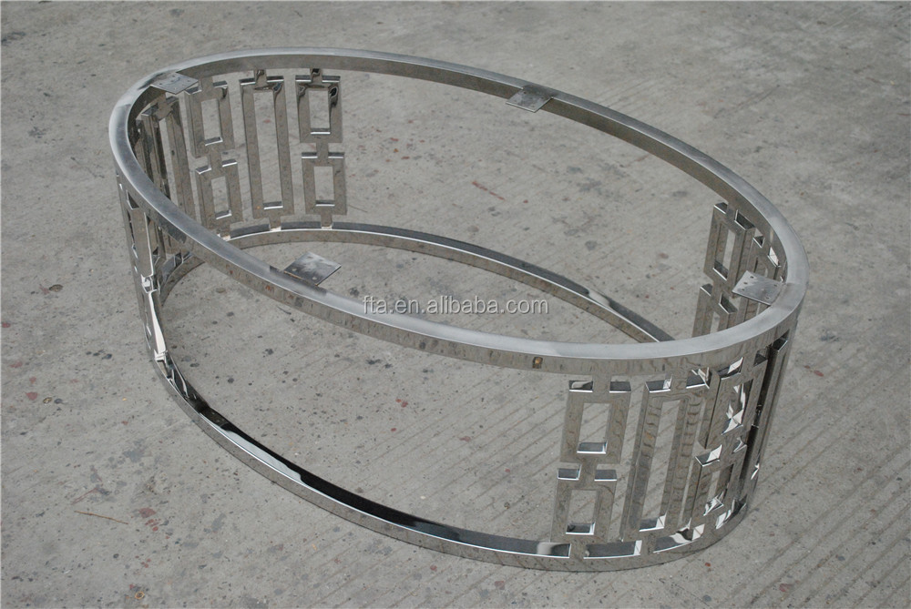 glass top / wood top oval polished stainless steel coffee table