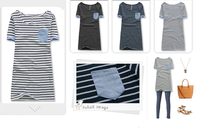 Casual style short sleeve striped t shirt extra long t-shirt for ladies