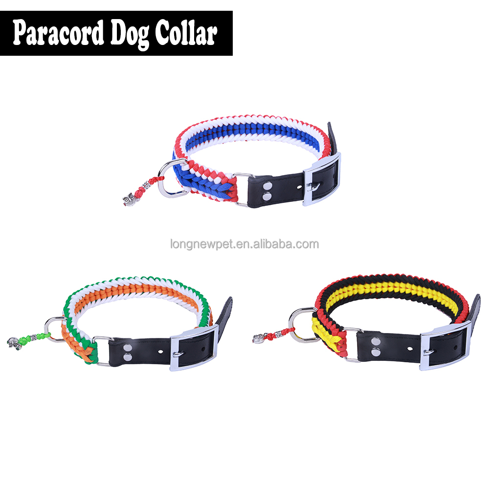 Durable Three Color Wide Sanctified Paracord Dog Collar with Genuine Leather Adjustable Belt for Pitbull
